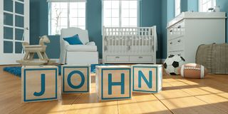 The name John written with wooden toy cubes in children`s room. 3D Illustration of the name John written with wooden toy cubes in children`s room stock illustration