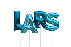 Name lars made of blue inflatable balloons isolated on white background. Name made of blue inflatable balloons isolated on white background 3D Illustration Stock Photo