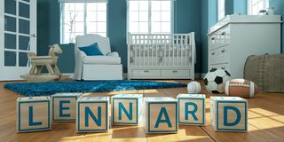 The name lennard written with wooden toy cubes in children`s room. 3D Illustration of the name lennard written with wooden toy cubes in children`s room stock illustration