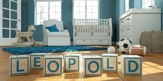 The name leopold written with wooden toy cubes in children`s room. 3D Illustration of the name leopold written with wooden toy cubes in children`s room stock illustration