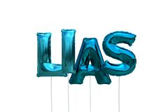 Name lias made of blue inflatable balloons isolated on white background. Name made of blue inflatable balloons isolated on white background 3D Illustration Stock Photo