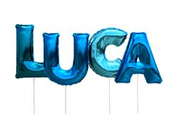 Name luca made of blue inflatable balloons isolated on white background. Name made of blue inflatable balloons isolated on white background 3D Illustration Stock Image