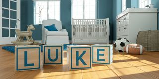 The name luke written with wooden toy cubes in children`s room. 3D Illustration of the name luke written with wooden toy cubes in children`s room Royalty Free Stock Photos