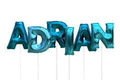 Name adrian made of blue inflatable balloons isolated on white background. Name made of blue inflatable balloons isolated on white background 3D Illustration Royalty Free Stock Photo