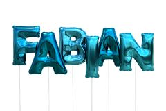Name fabian made of blue inflatable balloons isolated on white background. Name made of blue inflatable balloons isolated on white background 3D Illustration Royalty Free Stock Photos