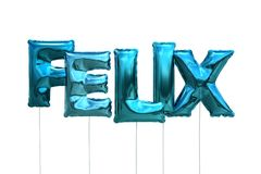 Name felix made of blue inflatable balloons isolated on white background. Name made of blue inflatable balloons isolated on white background 3D Illustration Royalty Free Stock Photos