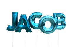 Name jacob made of blue inflatable balloons isolated on white background. Name made of blue inflatable balloons isolated on white background 3D Illustration Royalty Free Stock Image