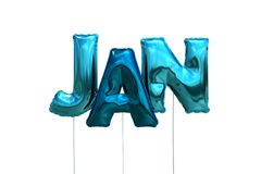 Name jan made of blue inflatable balloons isolated on white background. Name made of blue inflatable balloons isolated on white background 3D Illustration Stock Images
