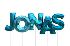 Name jonas made of blue inflatable balloons isolated on white background. Name made of blue inflatable balloons isolated on white background 3D Illustration Stock Image