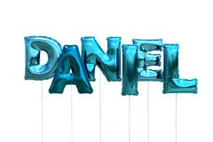 Name daniel made of blue inflatable balloons isolated on white background. Name made of blue inflatable balloons isolated on white background 3D Illustration Stock Image