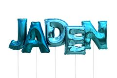 Name jaden made of blue inflatable balloons isolated on white background. Name made of blue inflatable balloons isolated on white background 3D Illustration Stock Images