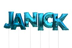Name janick made of blue inflatable balloons isolated on white background. Name made of blue inflatable balloons isolated on white background 3D Illustration Stock Photo