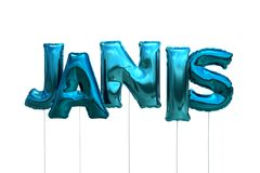 Name janis made of blue inflatable balloons isolated on white background. Name made of blue inflatable balloons isolated on white background 3D Illustration Royalty Free Stock Photos