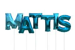 Name mattis made of blue inflatable balloons isolated on white background. Name made of blue inflatable balloons isolated on white background 3D Illustration Stock Photos