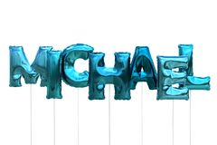 Name michael made of blue inflatable balloons isolated on white background. Name made of blue inflatable balloons isolated on white background 3D Illustration Stock Photography