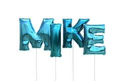 Name mike made of blue inflatable balloons isolated on white background. Name made of blue inflatable balloons isolated on white background 3D Illustration Stock Photo