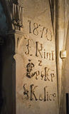 Name made with bones in Sedlec Ossuary. Kutna hora. The present arrangement of the bones dates from 1870 and is the work of a Czech wood-carver, Frantisek RINT royalty free stock image