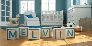 The name melvin written with wooden toy cubes in children`s room. 3D Illustration of the name melvin written with wooden toy cubes in children`s room vector illustration