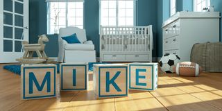The name mike written with wooden toy cubes in children`s room. 3D Illustration of the name mike written with wooden toy cubes in children`s room stock illustration