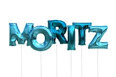 Name moritz made of blue inflatable balloons isolated on white background. Name made of blue inflatable balloons isolated on white background 3D Illustration Royalty Free Stock Photography