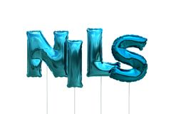 Name nils made of blue inflatable balloons isolated on white background. Name made of blue inflatable balloons isolated on white background 3D Illustration Stock Photography