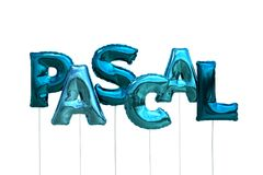 Name pascal made of blue inflatable balloons isolated on white background. Name made of blue inflatable balloons isolated on white background 3D Illustration Stock Photo