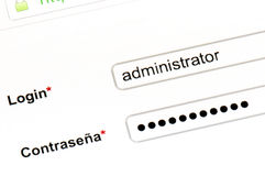 Name and password. To access the website Stock Image