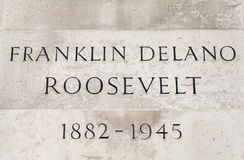 Name Plaque on the Franklin D. Roosevelt Statue in London Stock Image