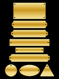 Name Plates. A collection of glossy gold name plates in different shapes and sizes Stock Images