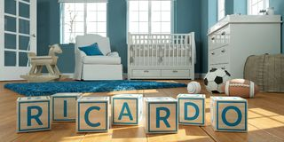 The name ricardo written with wooden toy cubes in children`s room. 3D Illustration of the name ricardo written with wooden toy cubes in children`s room royalty free illustration