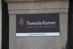 Name sign of Chamber of Deputies or Lower House. Name sign Tweede Kamer, dutch for Chamber of Deputies or Lower House part of the Dutch Parliament in the stock photography