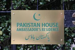 Name sign of the residence of the ambassador of the Pakistan in Den Haag.  royalty free stock photography