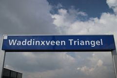 Name sign on station Waddinxveen Triangel of R-NET, a light rail train between alphen and gouda. In the Netherlands royalty free stock images