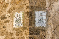 Name of a street, urban indicators. Cartels announcers of the names of the streets Zamora, Spain Royalty Free Stock Images