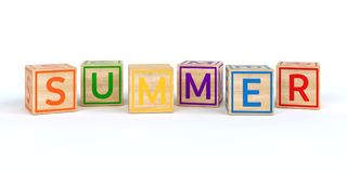 The name summer written with Isolated wooden toy cubes. 3D Illustration of the name summer written with Isolated wooden toy cubes Stock Images