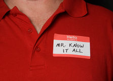 Name Tag. A name tag that says Mr know it all Stock Image