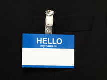 Name Tag. Blank Name Tag on black Stock Photo