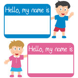 Name Tag with Kids. Hello, my name is tags for boy and girl, isolated on white background. Eps file available Stock Photography