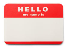 Name Tag. Red Hello My Name Is Tag with Copy Space, Isolated on White Background Stock Photography