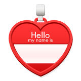 Name tag in the shape of a heart with copy space Stock Photography