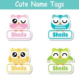 Name tag Vector cartoon of colorful cute owl birds suitable for kid name tag set design Royalty Free Stock Images