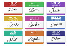 Name tag vector set. Hello my name is Stock Photo