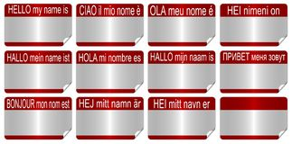 Name tags. Hello my name is in eleven European languages as name tags Royalty Free Stock Image
