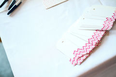 Name tags at a bridal shower. Name tages at a bridal shower party Stock Images
