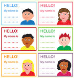 Name tags for kids. Colorful name tags with multicultural kids vector illustration
