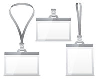 Name tags. Three blank name tags with lanyard holder Stock Image