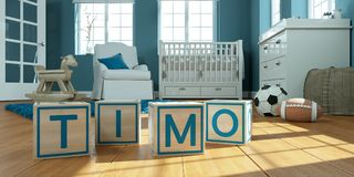 The name timo written with wooden toy cubes in children`s room. 3D Illustration of the name timo written with wooden toy cubes in children`s room royalty free illustration