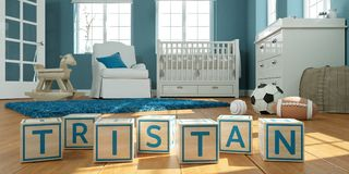 The name tristan written with wooden toy cubes in children`s room. 3D Illustration of the name tristan written with wooden toy cubes in children`s room stock illustration