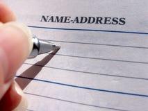Name u. Adresse? Stockfotografie