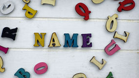 Name written. Choosing a name for the baby Royalty Free Stock Images